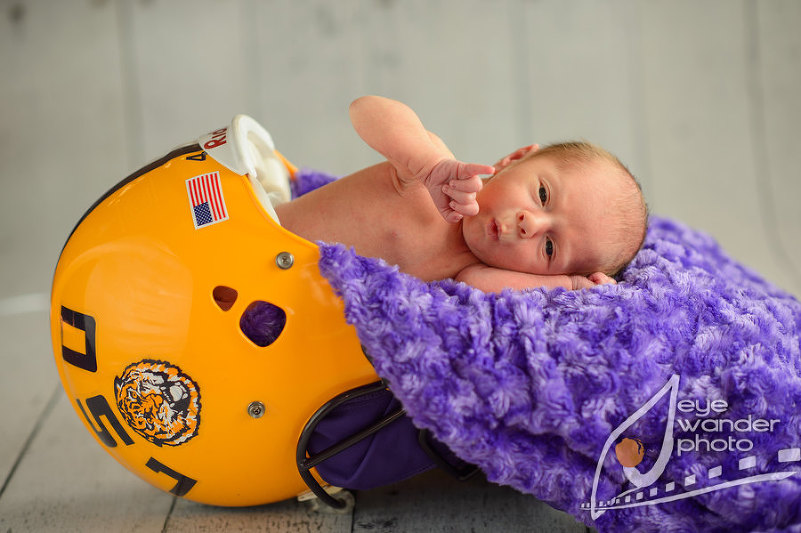 Dylan infant in lsu football helmet baton rouge child photography